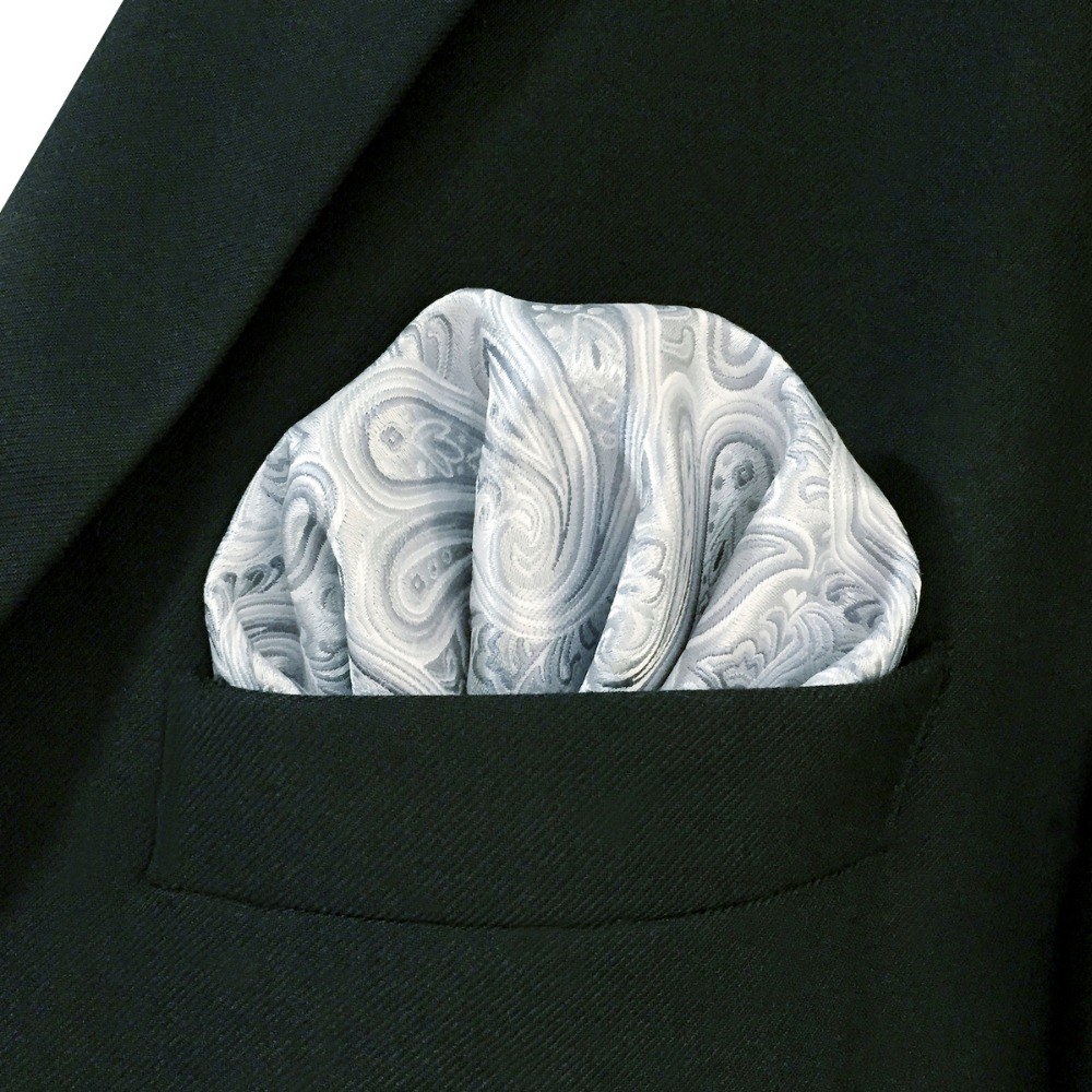 AH31 Silver Paisley Mens Pocket Square Silk Jacquard Woven Brand New Fashion Handkerchief Novelty Classic   Hanky