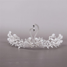 Cute Swan Princess Tiaras and Crowns Crystal Pearl Headband Bridal Crown Wedding Party Accessories Girls Fashion Hair Jewelry