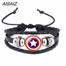 Aisaiz America Super Hero Superheroes Batman Spider-Man Iron Man Superman Logo Leather Bracelet Boys Glass Cabochon Bracelet(China)