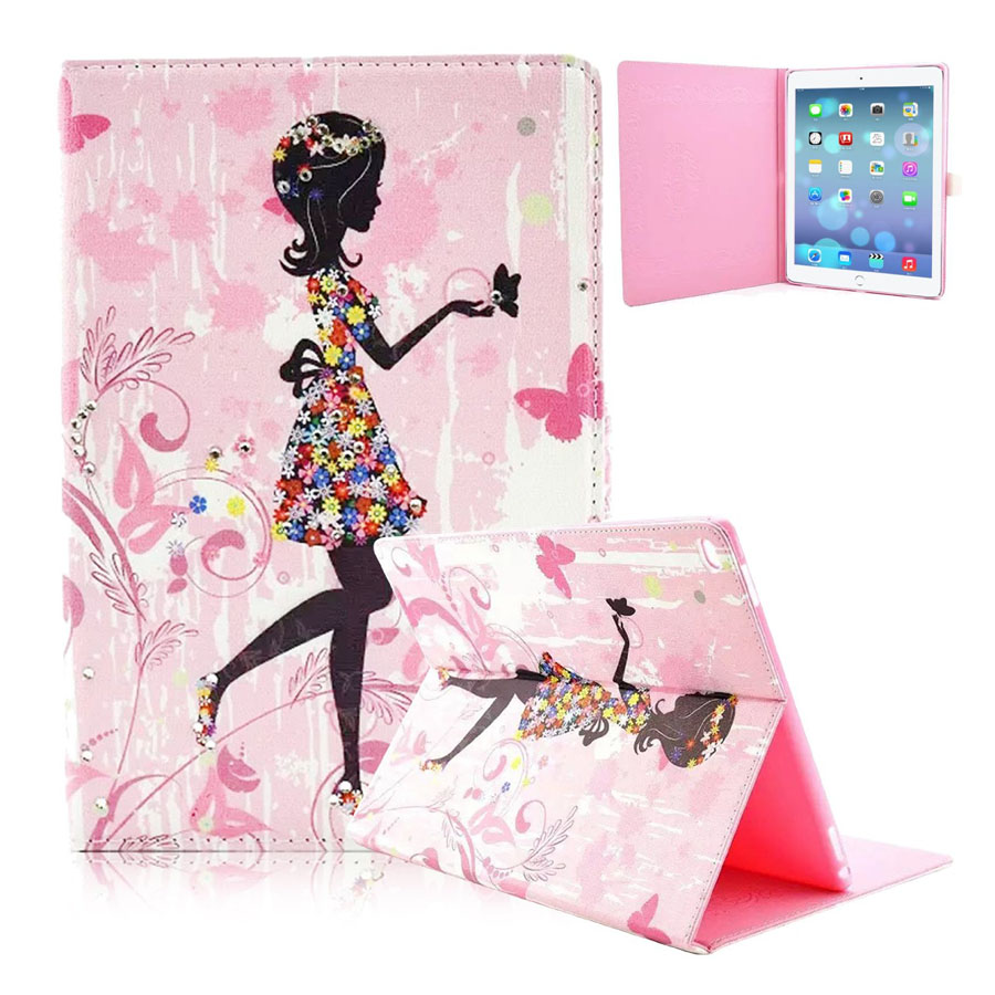 For iPad Pro Cover 2015 Butterfly Girl Flip Folio PU Leather Stand Case Cover for Apple iPad Pro 12.9 with TPU Back Cover new animal cartoon tiger owl pu leather stand for apple ipad pro 9 7 case with card slot protector back cover stylus