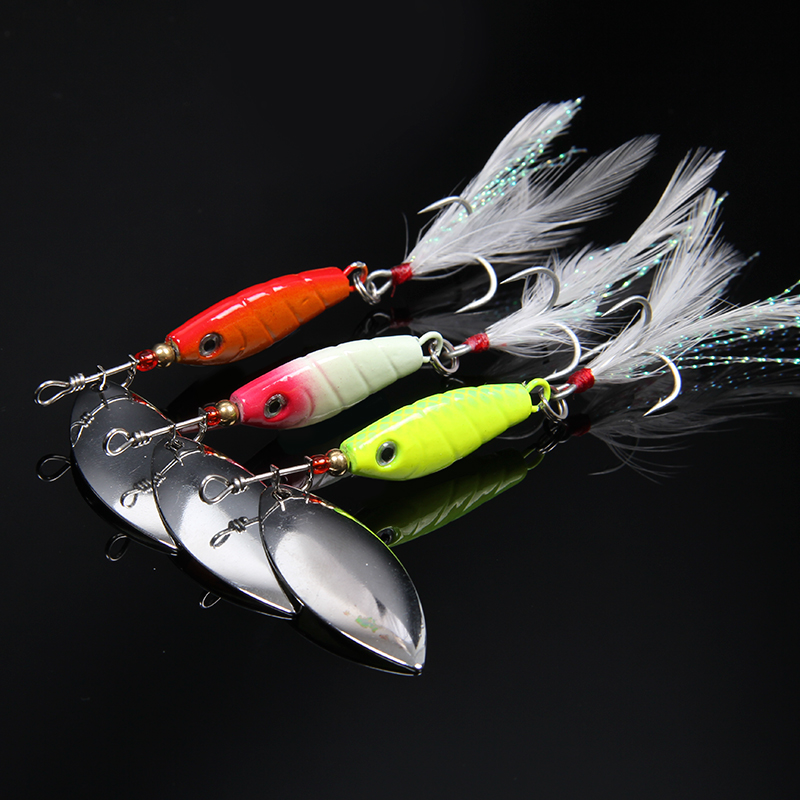 hot sale 3pcs Fishing Lures Fishing spinner Tackle paillette spoon Lures Mix Color/10g Free shipping hot sale 80cm long strangth mix color