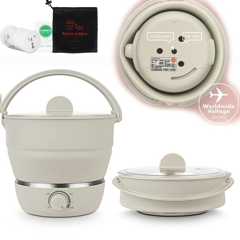 22%,1L Folded Food Grade Silicone Slow Cooker Portable Cooking Pot Mini Hot Pot Travel Electric Cooker 3gear Adjustment 100-240V