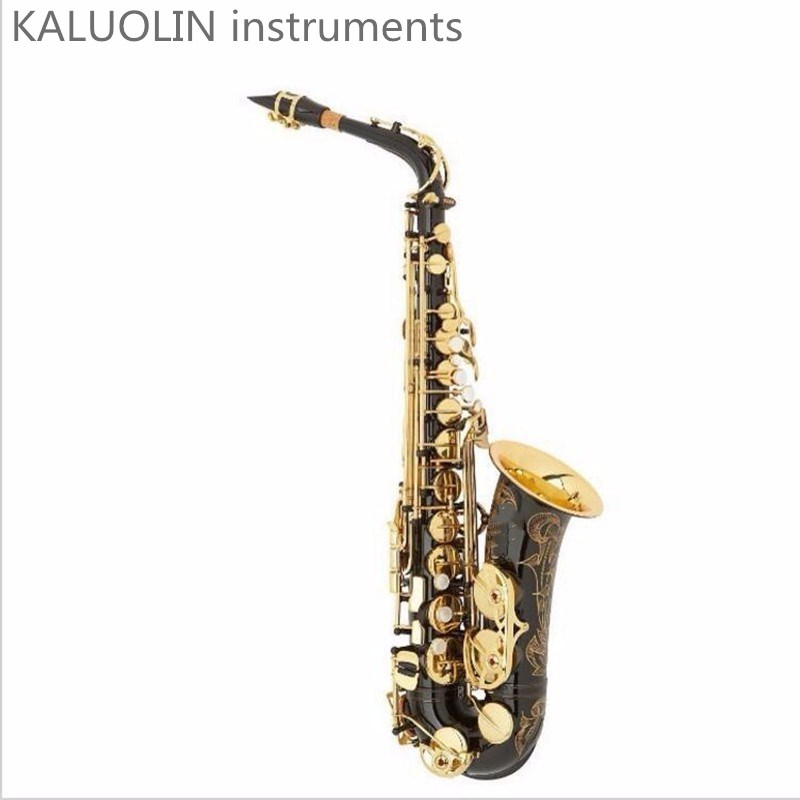 KALUOLIN Instruments High Quality New Genuine Alto Saxophone Black Professional E Sax mouthpiece With Case and Accessories Free new 2017 senior french brand conn selmer black lacquer alto saxophone e as 710 matt encarved alto sax with mouthpiece