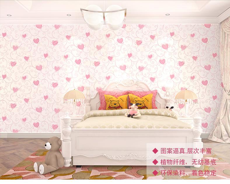 Us 29 0 3 Color Pink Green Blue Wallpaper For Bedroom Cartoon Cute Heart Girl Bedroom Wallpaper Pink Heart Princess Room Wallpaper Roll In