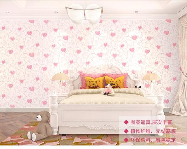 3 Color Pink Green Blue Wallpaper For Bedroom Cartoon Cute Heart Girl