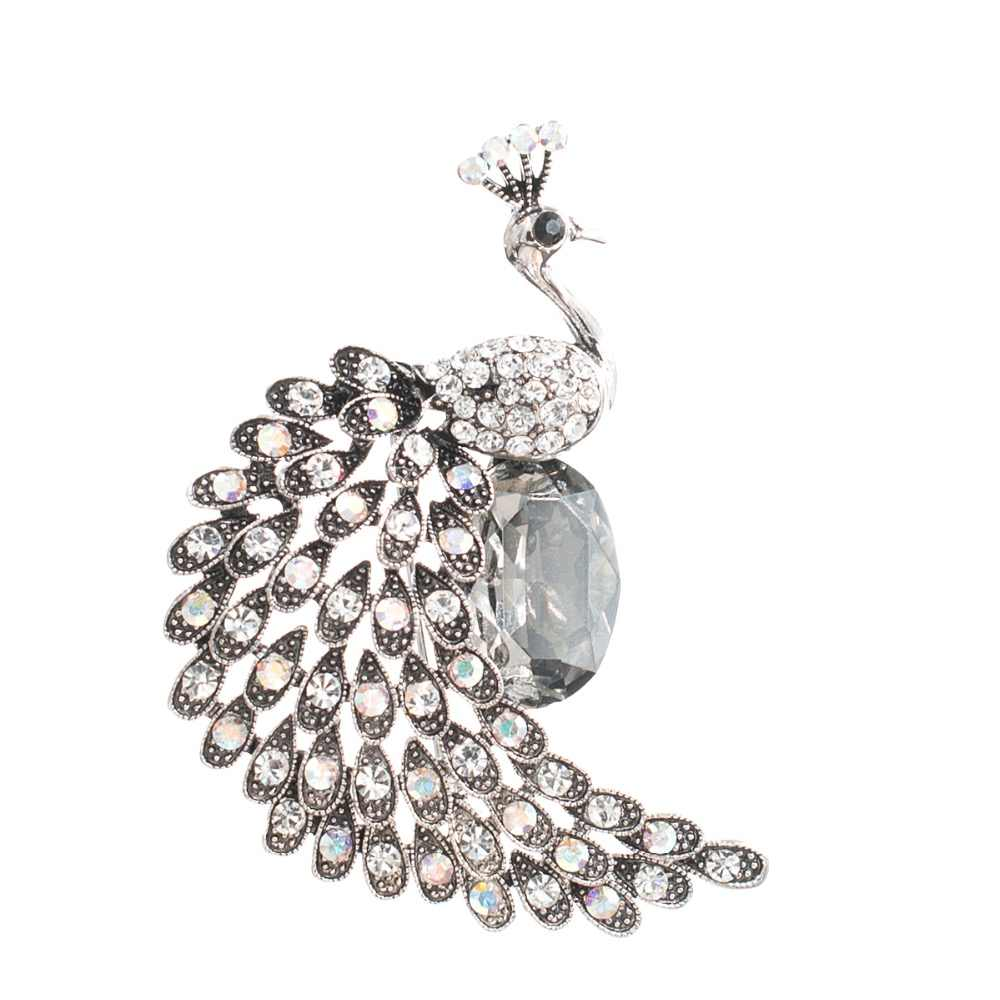 Antik Gaya Berlian Imitasi Kristal Burung Merak Bros Jarum Bros Wanita Gaun Tas Aksesori