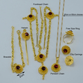 Red Stone Ethiopian Jewelry sets With Hair pcs(forehead)  Gold Plated Wedding set Women/Baby Ethiopian/Eritrean/African girls