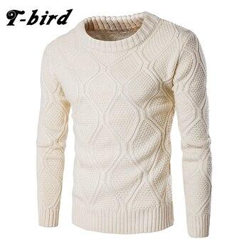 T-bird Młodzieży Grometric Wełniane Swetry Mężczyźni O-neck Z Długim Rękawem Slim Ciepłe Swetry Pull Homme Beżowy Pulllvers Swetry Topy XXL
