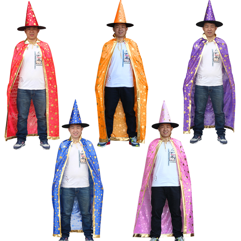 Free shipping Boy Girl Adult  Christmas Witch Wizard Cloak Cosplay Costumes Cap  Stars New Year Halloween Fancy dress up