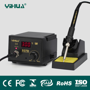 Free Shipping 220V Temperature Control ESD Digital Soldering Station Rework Stations YIHUA 937D With EU Plug