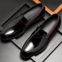 Desai Neue Echtes Patent Leder herren Bussines Kleid Schuhe Atmungsaktiv Casual Koreanische Loafer Schuhe Männer Mode Oxfords Größe 37 -44
