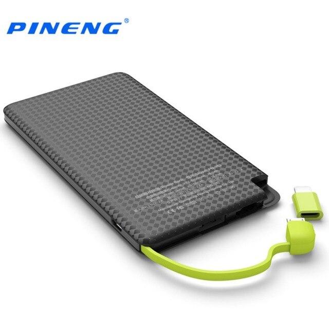 PINENG 5000 мАч Мобильный Банк Питания Быстрой Зарядки Внешняя Батарея Портативное Зарядное Устройство Литий-полимерный Аккумулятор Для Телефонов Android