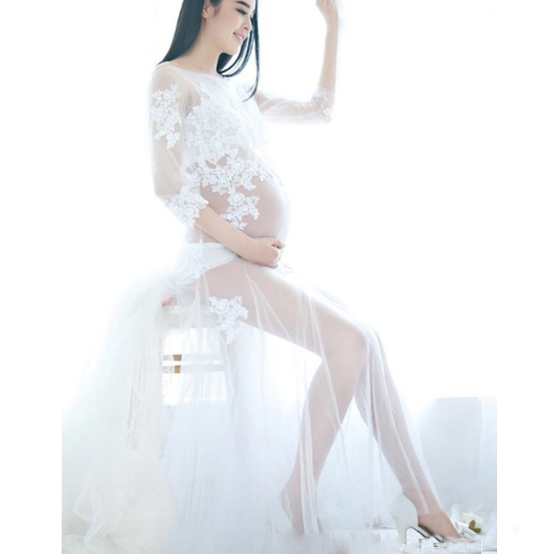 Xiyunle Maternity Photography Props Dresses Elegant White Lace Pregnancy Clothes For Pregnant Women Long Photo Shooting Dress