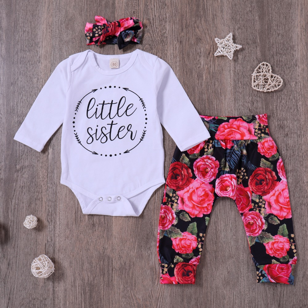 Infant Toddle Baby girl Clothing Set White Baby Sister Romper + Rose Print Trousers + Headband Newbor Girls 3 Pcs Clothes Outfit
