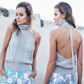 P56 New Women Sexy Knitted Autumn Sweaters Halter Turtleneck Pollovers Sleeveless Knit Backless Tricot Pull Femme Sweater