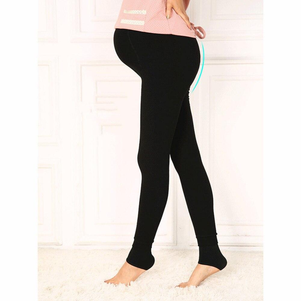 invierno de maternidad leggings pantalones ropa para mujeres embarazadas calientes de cintura alta de terciopelo espesar
