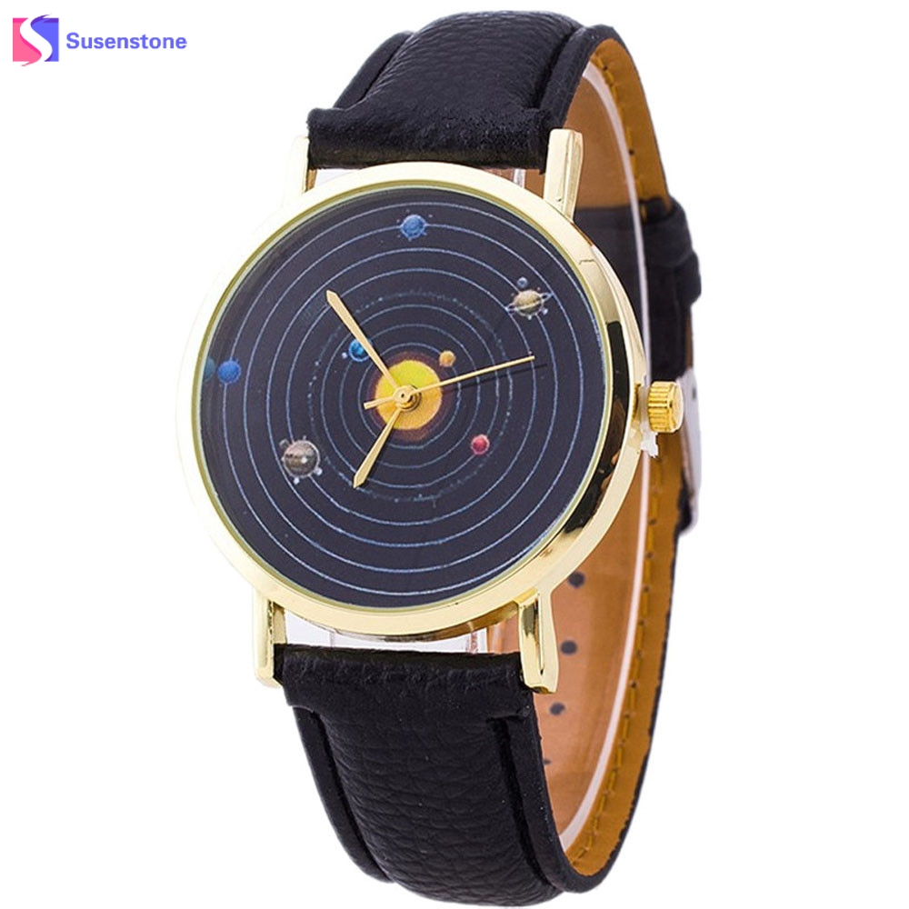 Men Women Relogio Watch Fashion Casual Planet Pattern PU Leather Quartz Analog Watch Unisex Wrist Dress Watches Cheap Wholesale music hall psvane el34 single ended class a stereo tube amplifier rectifier hifi amp