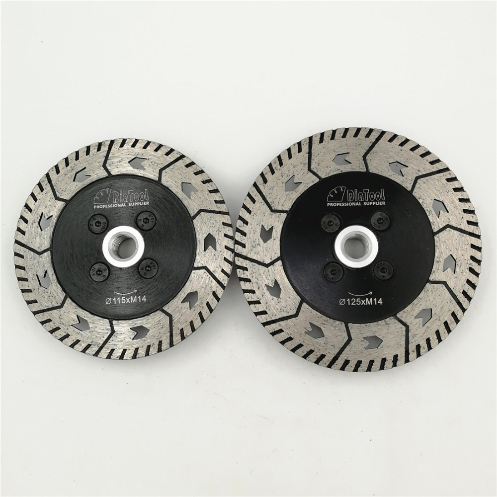 DIATOOL 1pc 4.5or 5 Diamond Dual Saw Blade Dia 115MM or 125MM Cutting Grinding Disc Cut Grind Sharpen Granite Marble Concrete