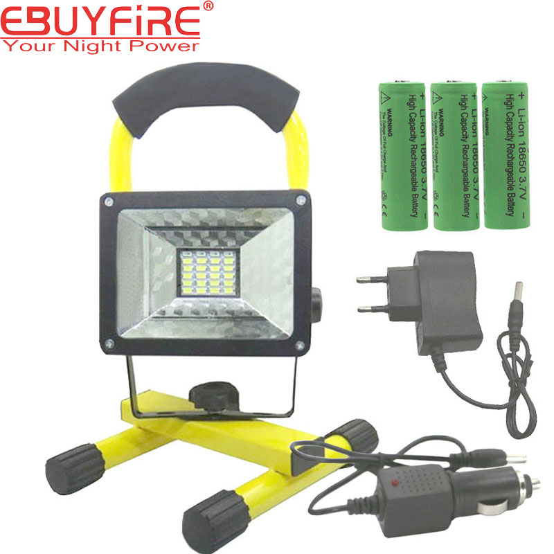 EBUYFIRE 18650 Rechargeable flood light 24 Led Fish lights lamp 30W Outdoor Waterproof by 3x 18650 rechargeable Battery new 6 18650 battery new powerful lights rechargeable led floodlight 100leds 2400lumen 100w flood lamp portable light