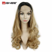 Wignee Long Hair Lace Front Synthetic Wigs For Black Women Ombre Color Brown Red 613 Rose