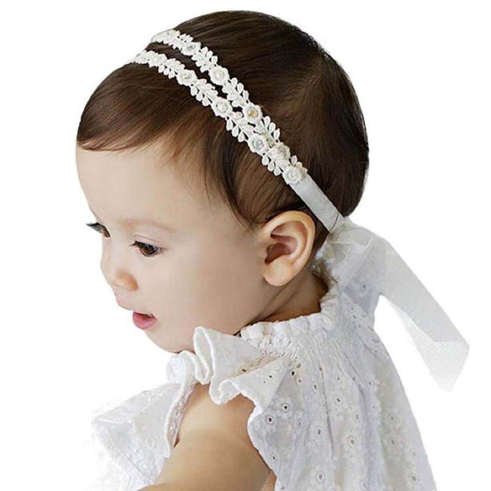 Hot Sale Baby Flower Headband Girl Children Infant Baby White Floral Hair Band Accessories Adjustable Headband For Baby Girls