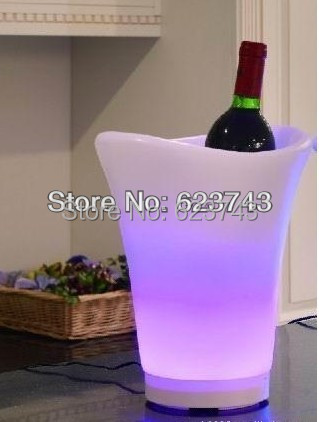 Free Shipping Plastic Champagne Led Ice Bucket ,color Changing Plastic Ice Bucket, Luminous Ice Pail Ice Cooler,glow Beer Cask