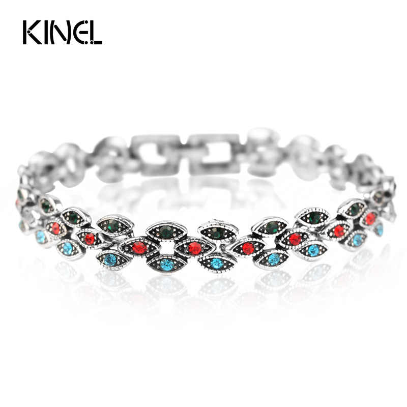 Kinel Hot 3 Color Small Eye Bracelet Vintage Look Turkish Jewelry Covered Charm Crystal Bracelet For Women 2017 New