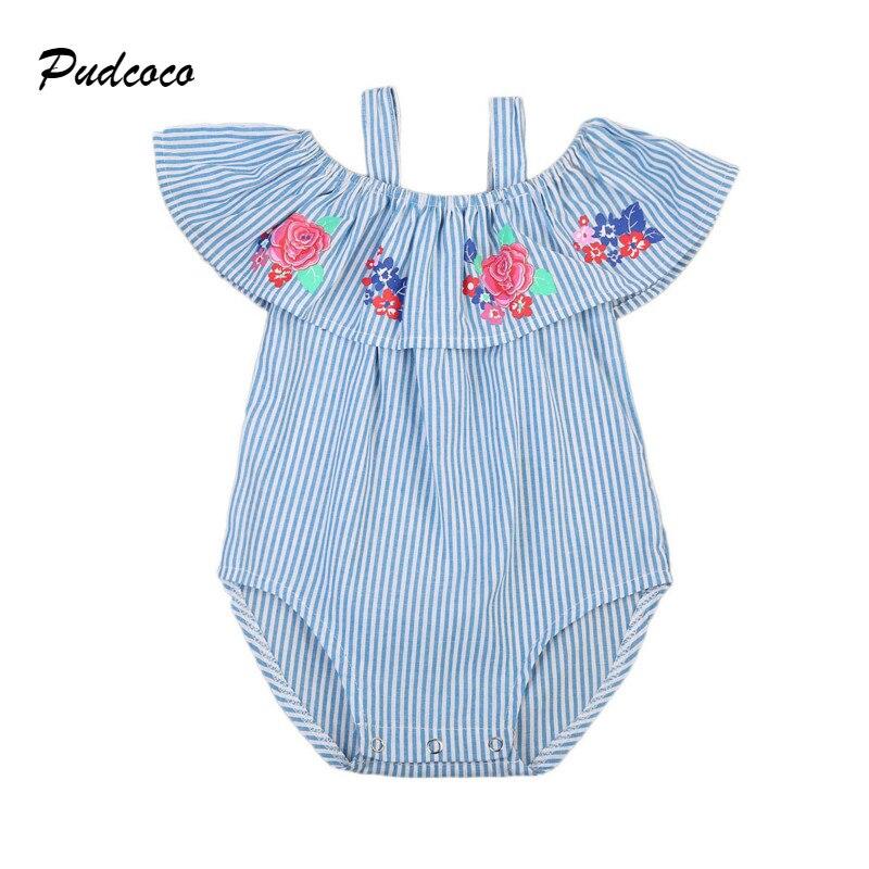 0-24 Mt Nette Neugeborene Baby Kleidet Schulterfrei Kap Kragen Gestreiften Strampler Overall Einem Stück Sunsuit Kleidung Outfits Starke Verpackung