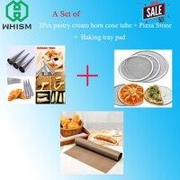 3 ADET Paslanmaz Çelik Spiral Fırında Kruvasan Boynuz + 1 ADET Alüminyum Pizza Ekran + 1 ADET Kullanımlık Yapışmaz Fırın mikrodalga Pişirme Mat
