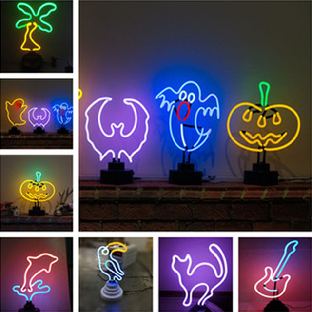 US $109 8 |3D Neon Light Creative DIY Animal Flamingo Cute Marquee Lamp  Tube LED Night Light For Room Baby Children Decor Gifts Table Lamps-in  Night