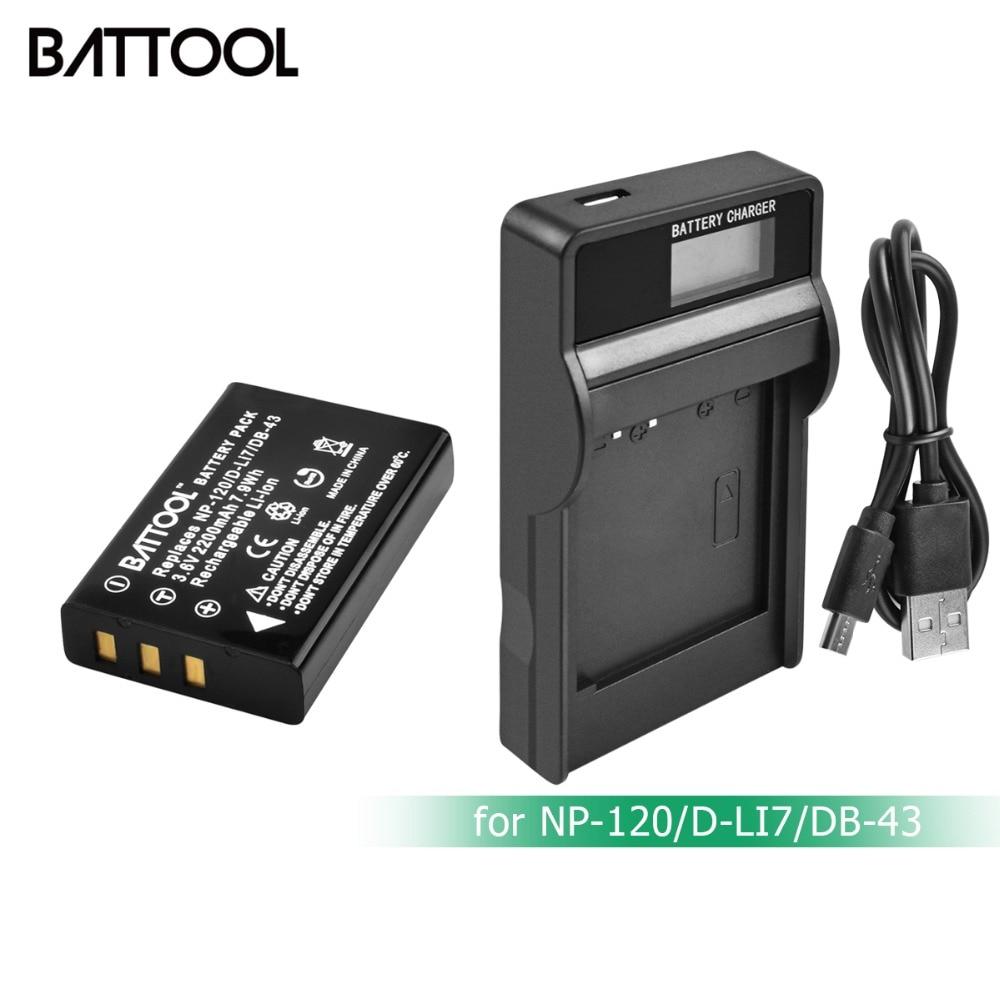 BATTOOL 2200 mAh NP 120 NP120 NP-120 FNP-120 FNP120 batterie LCD + Carregador para Fujifilm F10 F11 ZOOM para BP-1500S d-LI7 DB-43 L20