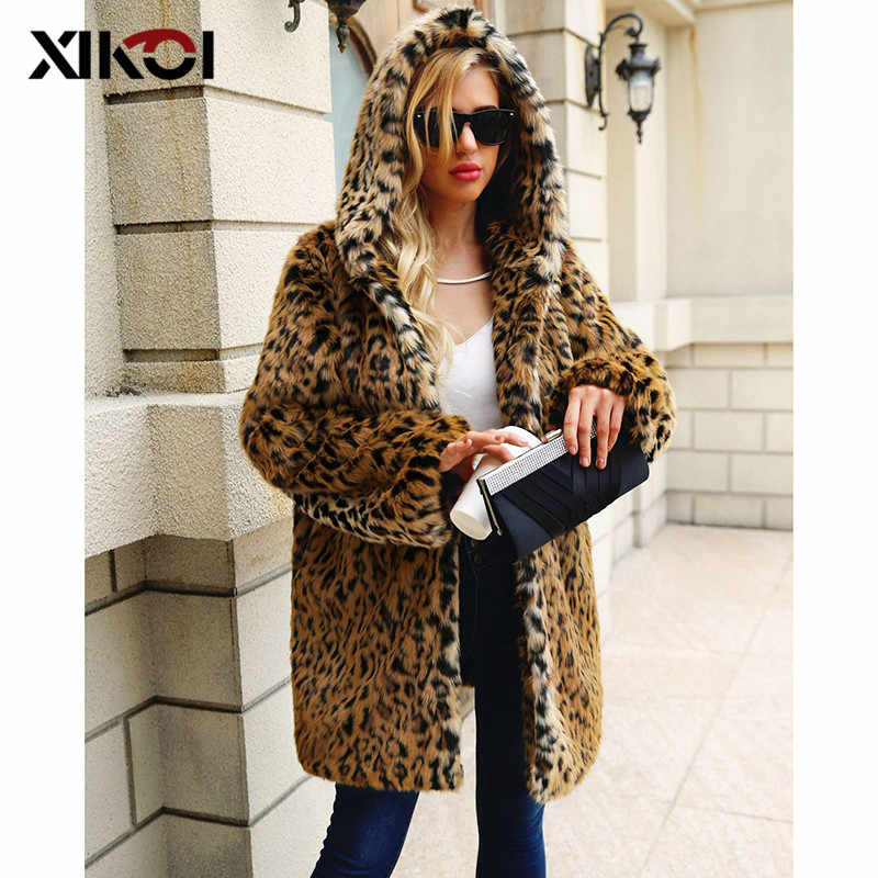 XIKOI High Quality Luxury Faux Fur Coat For Women Coat Winter Warm Fashion Leopard Artificial fur Fluffy Women's Coats Jacket