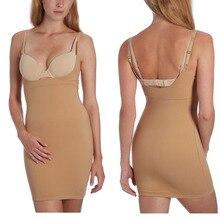 Mulheres Plus Size Uma Peça Perfeita Médio Controle Deslizamentos Shapewear Shapers Magro Bottoming Vestido
