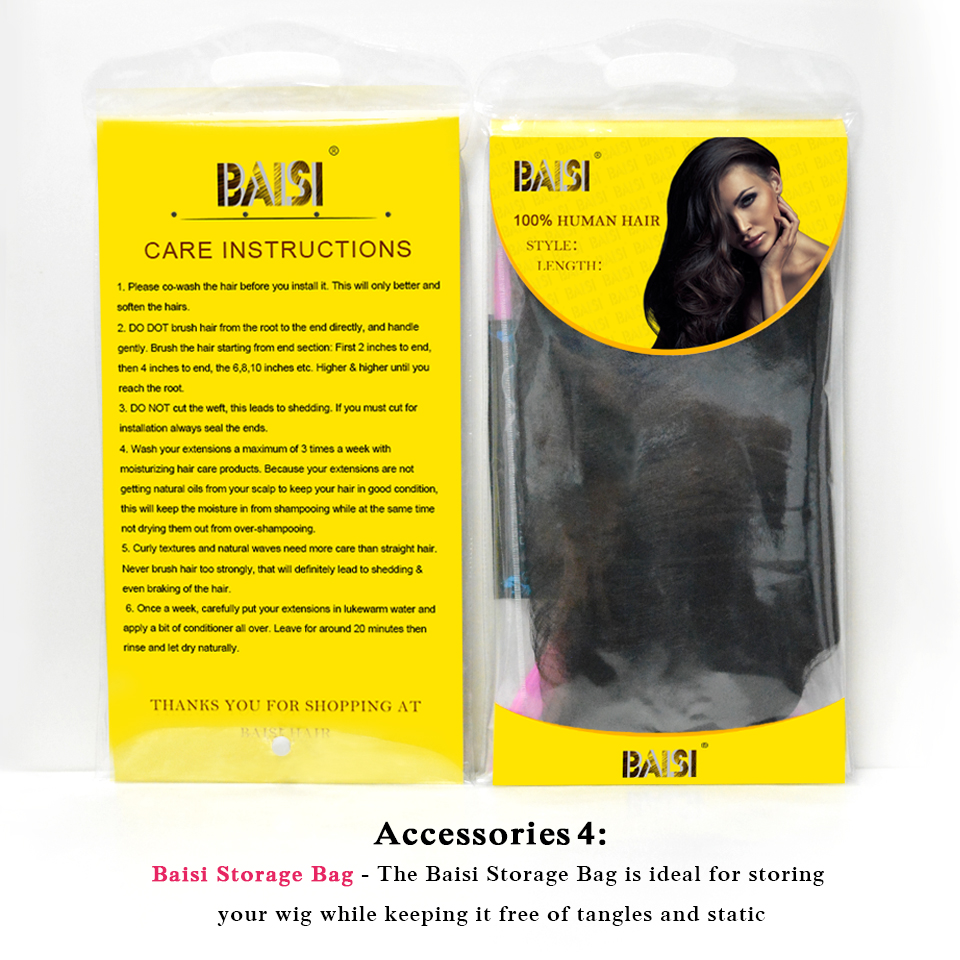 BAISI Перуанський Прямий 360 Мереживо - Людське волосся (чорне) - фото 6