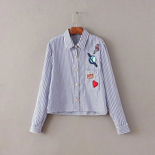 Blouses & Shirts 2017 Women Vintage Butterfly Flower Embroidery Patch Striped Long Blouses Shirts Lady Long Sleeve Feminine Blusas Tops Ls1174