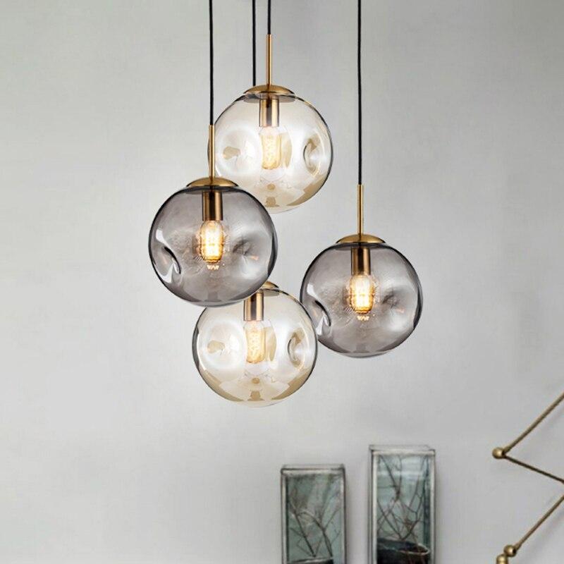 Moderne simple bosse conception balle seule tête pendentif lampe Nordique creative placage ambre en verre restaurant décor E27 LED éclairage