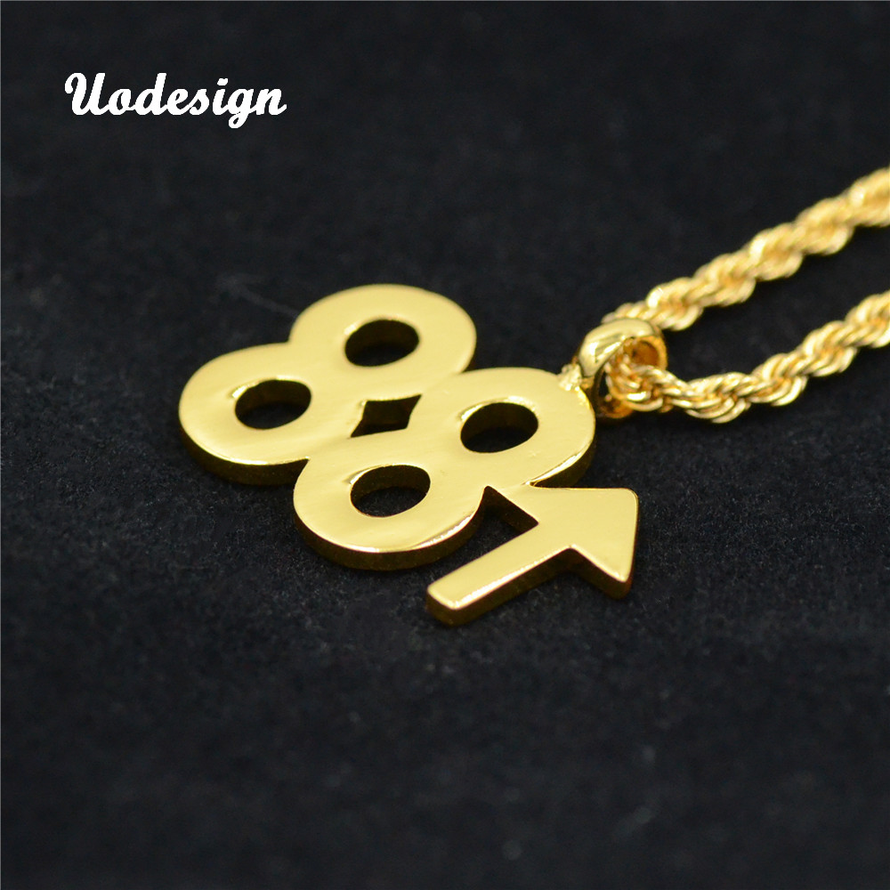 Hip Hop 88 Rising Pendant Silver Gold  Link Chain Double 8 Digital Necklace For Women Men Rap Jewelry
