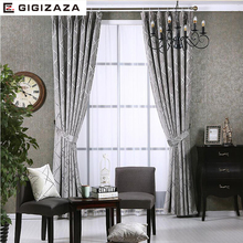 Newchenille Blinds Jacquard Fabric Curtain for Livingroom Silver GIGIZAZA Black Out Custom Size Shade American Style