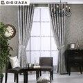 Newchenille GIGIZAZA cortinas cortina de tecido jacquard para sala de estar de prata black out tamanho personalizado sombra estilo americano para o quarto