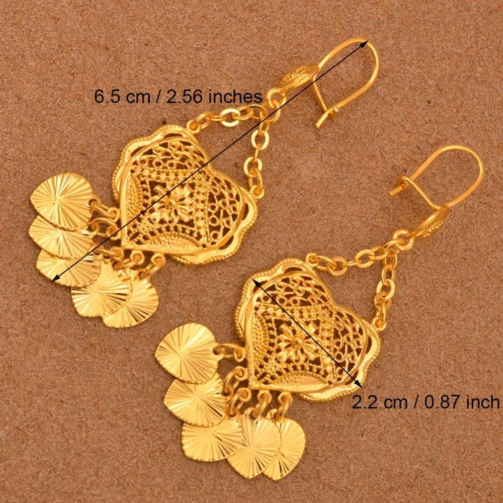 Anniyo трендовые серьги для женщин на Ближнем Востоке, арабские дубайские ювелирные изделия золотого цвета, подарки с сердцем, африканские ювелирные изделия #111106