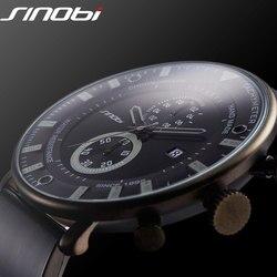 SINOBI Fashion Sports Quartz Watch Men Ultra Thin Chronograph WristWatch Rubber Band Brand Clock Males Military Army Relogio