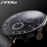 SINOBI Fashion Sports Quartz Watch Men Ultra Thin Chronograph WristWatch Rubber Band Brand Clock Males Military