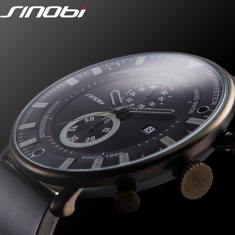 SINOBI Mode Sport Quarzuhr Männer Ultra Dünne Chronograph Armbanduhr Gummiband Marke Uhr Männer Military Armee Relogio