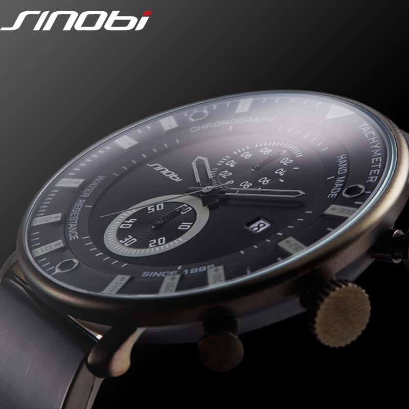 SINOBI Mode Sport Quarzuhr Männer Ultradünne Chronograph Armbanduhr Gummiband Marke Uhr Männer Military Armee Relogio