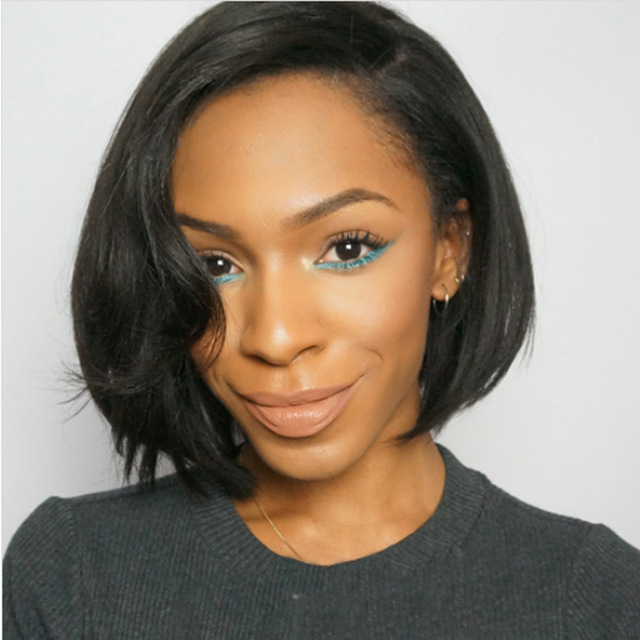 130% плотность 360 кружева фронтальной парик короткий Боб бирманский Человеческих Волос для черный Для женщин предварительно выщипать с волос...