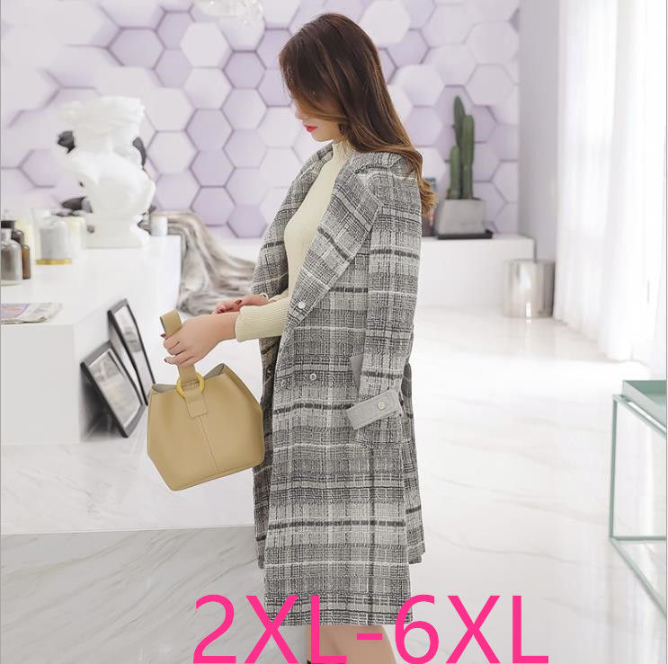 2019 autumn winter women plus size casual loose plaid long sleeve wool dust coat   trench   white large size coats 3XL 4XL 5XL 6XL