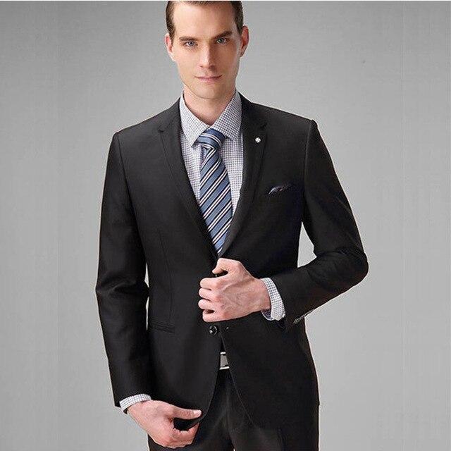 (Пиджак + брюки + галстук) 2017 классические брюки Slim Fit Для мужчин черный смокинг жениха Для мужчин свадебные/вечерние костюмы для выпускного м...