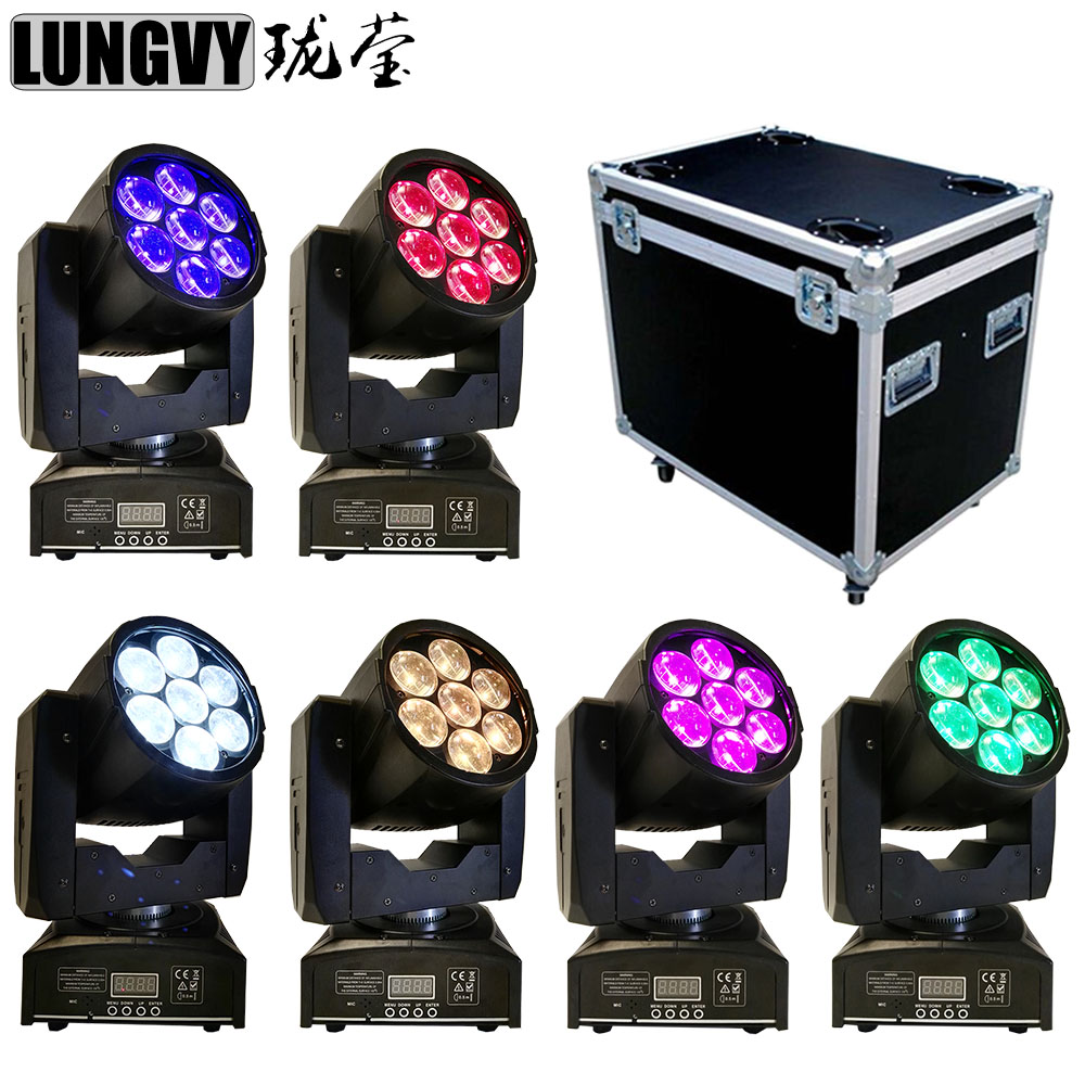 Free Shipping 6pcs/Lot Flight Case Packing Mini 7*12W RGBW 4IN1 Led Moving Head DJ Wash Zoom Light For DMX512 Disco Club Show