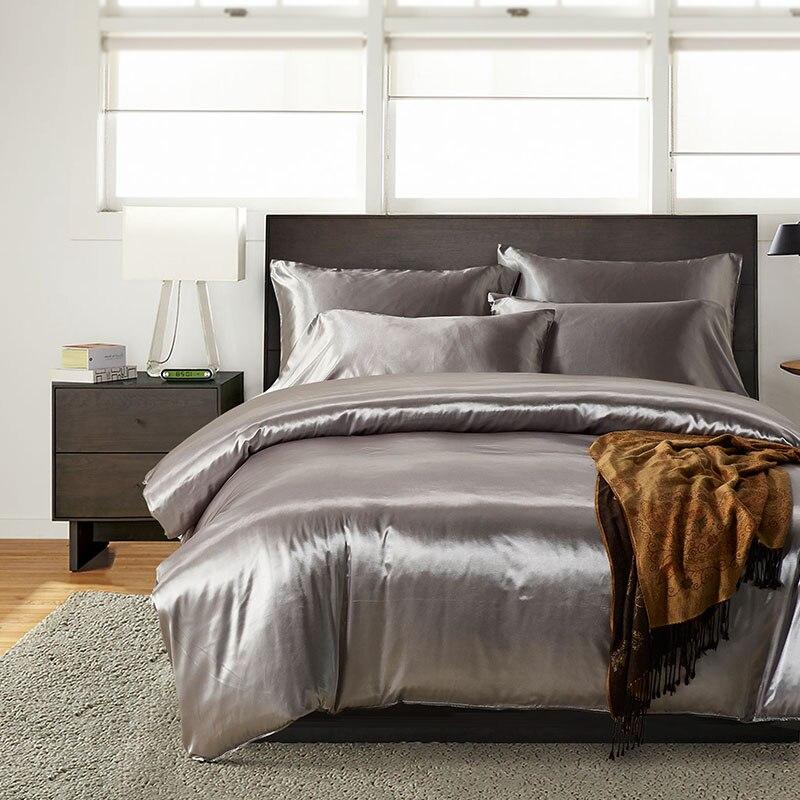 Satin Silk Duvet Cover Set US UK Size 3pcs/set Modern Bedding Grey Oriental Quilt Covers Bed Set 7 Colors Capa De Edredon Casal