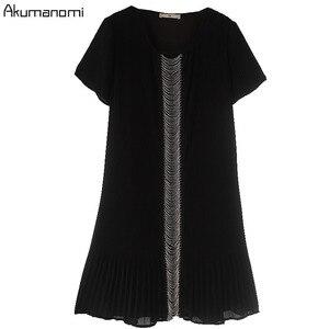Image 3 - Estate Drappeggiato Del Vestito Abbigliamento Donna Nero O Collo Manica Corta Che Borda Il Vestito di Alta Qualità di Modo Più Il Formato 5XL 4XL 3XL 2XL XL L M